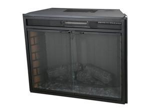 "ClassicFlame 28"" Wide Insert with Glass Doors, Backlit Display and Remote (Black) 28EF025GRS"