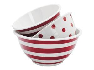 Anchor Hocking 92184 3 Pc. Decorated Melamine Mixing Bowl Set Red