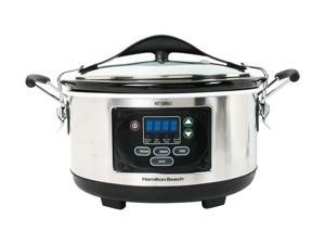 Hamilton Beach 33967 Stainless Steel Set 'n Forget Programmable Slow Cooker With Spoon/Lid