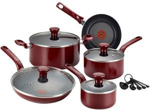 T-fal C514SE64 Excite Nonstick Thermo-Spot Dishwasher Safe Oven Safe PFOA Free Cookware Set, 14-Piece, Red