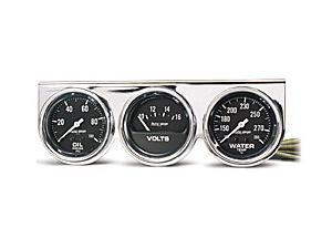Auto Meter 2399 Autogage Black Oil/Water/Volt Chrome Console