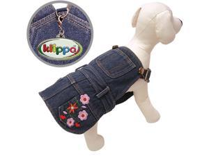 Cute Denim Dog Dress with Embroidered Flowers & Pockets - L