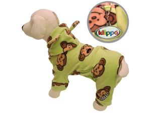 Adorable Silly Monkey Fleece Dog Pajamas/Bodysuit with Hood - Lime - M