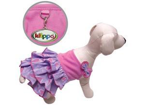 Elegant Shimmery Hearts Dog Ruffle Dress with Bow - M