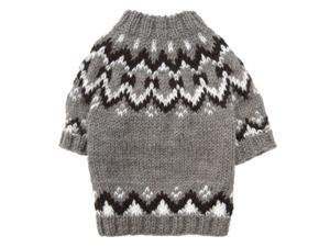 Hand Knitted Dog Sweater with Icelandic Pattern - L