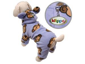 Adorable Silly Monkey Fleece Dog Pajamas/Bodysuit with Hood - Lavender - M