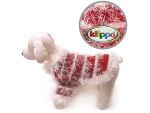 Beautiful Hand Knitted Dog Sweater with White Sparkling Furry Trims - L