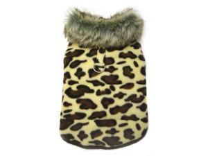 Adorable Padded Leopard Print Dog Vest with Fur Collar - L