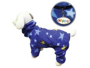 Cozy Midnight Stars Fleece Turtleneck Dog Pajamas/Bodysuit - L