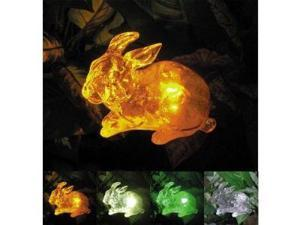 Polyresin Outdoor Garden Landscape Solar Light Color Changing LED Rabbit