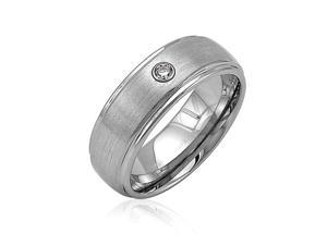 Cubic Zirconia CZ Accented Tungsten Ring Band Brushed Comfort Fit 8mm Unisex's Jewelry