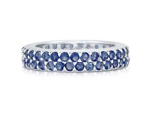 Sterling Silver 925 Sapphire-Blue Cubic Zirconia CZ 2-Row Eternity Ring Women's Jewelry