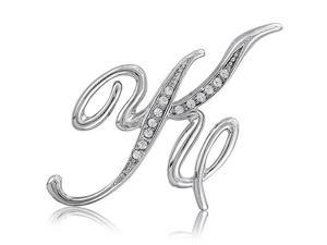 Silver Toned Initial Letter Brooch Pin - K
