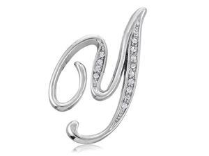 Silver Toned Initial Letter Brooch Pin - Y