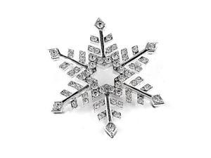 Silver Tone Snowflake Brooch Pin