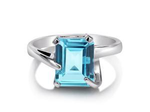 Huge Natural Blue Topaz Gemstone Sterling Silver Solitaire Ring 3.79ct Women's Jewelry