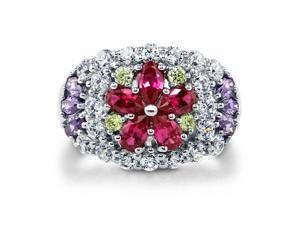 Sterling Silver Multicolor Cubic Zirconia CZ Flower Dome Right Hand Ring Women's Jewelry