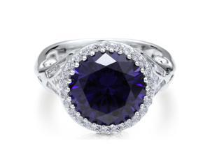 925 Sterling Silver Round CZ Simulated Tanzanite Cocktail Ring women's Jewelry