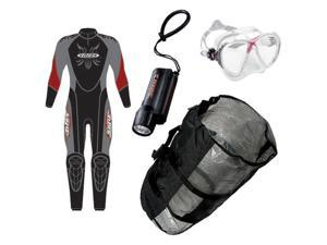Premier Cold Water, Men's Dive Combo Set:  Wetsuit, Mask, Torch, Bag!