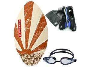 Hanging at the Beach Skim Board Combo Set:  Skim Board, Beach Shoes, Goggles.