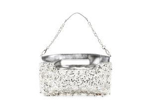 Candice Women's Silver Beaded/Sequined Clutch