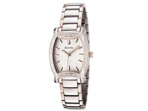 Bulova Women's Diamond White Patterned Dial Two Tone
