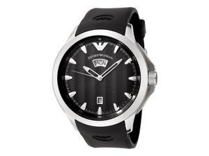 Emporio Armani Men's Sport Black Textured Dial Black Rubber