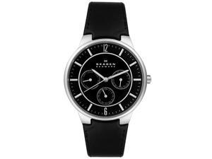 Skagen Men's Black Dial Black Leather