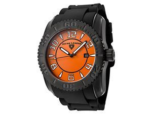 SWISS LEGEND Men's Commander Orange Dial Black Rubber