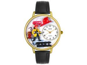 Firefighter Black Padded Leather And Goldtone Watch #G0610027