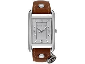 Michael Kors Women's Silver Dial Tan Leather