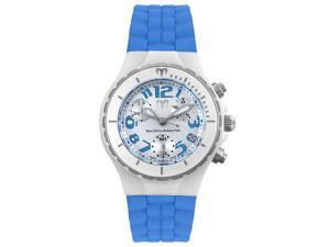 Technomarine Women's Chrono Ceramique White Ceramic and Blue Rubber