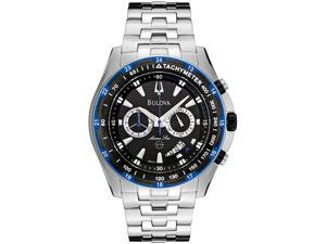 Bulova Men's Marine Star Chronograph Black Grid Dial Stainless Steel
