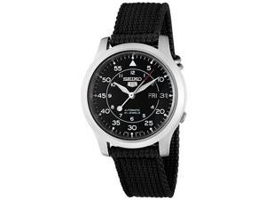 Seiko 5 Black Dial Black Canvas Strap Automatic Mens Watch SNK809K2