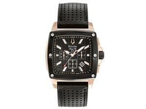 Bulova Men's Marine Star Chronograph Black Leather