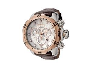Invicta Men's Reserve Chronograph Silver Textured Dial Brown Leather
