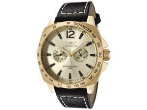 Men's Invicta II Gold Dial Black Leather