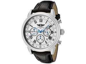 I by Invicta Men's Chronograph Light Silver Textured Dial Black Leather