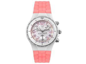 Technomarine Women's Chrono Ceramique White Ceramic and Pink Rubber