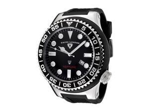 SWISS LEGEND Men's Neptune Black Dial Black Rubber