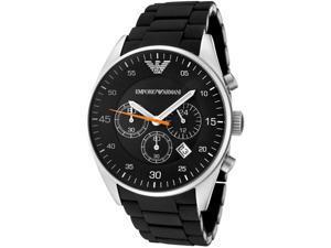 mporio Armani Men's Sportivo Chronograph Black Dial Black Silicon& Stainless Ste