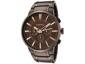Fossil Chronograph Brown Dial Brown IP Stainless Steel Mens Watch FS4357