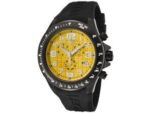 SWISS LEGEND Men's Eograph Chronograph Yellow Grid Dial Black Rubber