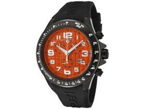SWISS LEGEND Men's Eograph Chronograph Orange Grid Dial Black Rubber