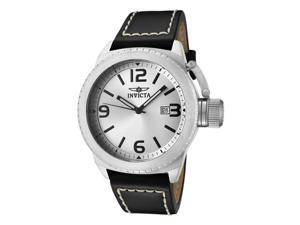 Invicta Men's Corduba Silver Dial Black Leather