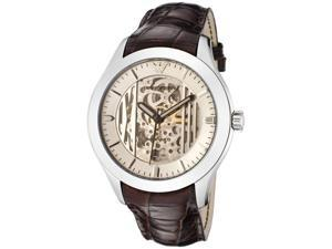 mporio Armani Men's Meccanico Silver Skeletonized & Silver Dial Brown Embossed L