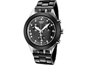 Swatch Irony Diaphane Chronograph White Crystal Black Ion Plated Stainless Steel