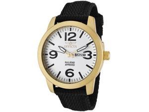Invicta Men's Specialty White Dial 18K Gold Plated Case Black Nylon