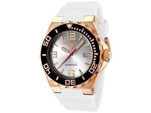 SWISS LEGEND Men's Expedition Silver Dial Rose Gold Tone Case White Silicone