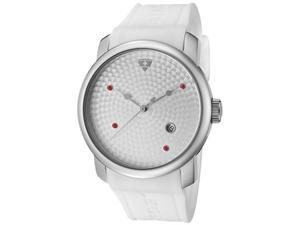 SWISS LEGEND Men's Planetimer Red Sapphire Silver Guilloche Dial White Silicone